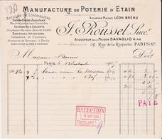 PARIS -75011- FACTURE Manufacture De Poterie D'Etain J. Roussel 59,rue De La Roquette - A7760 - France