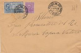 S. Mango Sul Calore. 1929. Annullo Frazionario (6 - 93), Su Lettera Affracata. Al Verso Ambulante NAPOLI LIONI - 1900-44 Victor Emmanuel III