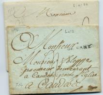 C18- DE CANY  1784 Lenain N°1 + DE CANY à Sec 1789 Lenain N°2A Seine Inférieure Indice 14  Ou 1 Lettre à 20€ - 1701-1800: Precursors XVIII