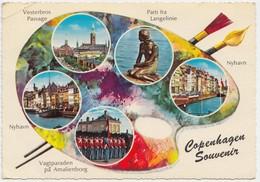 Copenhagen Souvenir, Multi View, 1966 Used Postcard [22173] - Denmark