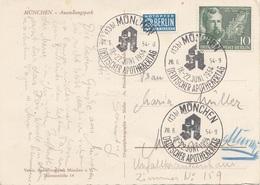 DEUTSCHER APOTHEKERTAG 1954 -10 Pfg Sondermarke + Notopfer Berlin, 3 Sonderstempel A.Ak MÜNCHEN - Ausstellungspark - Covers & Documents