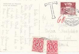 ÖSTERREICH NACHPORTO 1954 - T-Stempel + 10 + 50 Gro Nachporto + 20 C Auf Ak MERLIGEN Am Thunersee - Portomarken