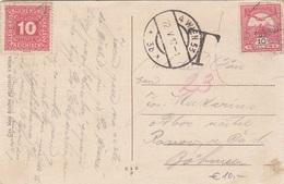 ÖSTERREICH NACHPORTO 1917 - 10 Heller Nachporto + 10 Filler Auf Ak EGRI FÖSZEKESEGYHÄZ - Portomarken