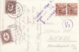 ÖSTERREICH NACHPORTO 1948 - 5 + 20 Gro Nachporto + 2x10 C + T-Stempel Auf Ak NATURFREUNDEHAUS METTMEN - Portomarken