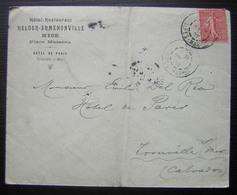 Nice 1907 Hôtel Restaurant Helder Armenonville, Place Masséna (Hôtel De Paris Trouville Sur Mer) - Marcophilie (Lettres)
