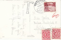 ÖSTERREICH NACHPORTO 1957 - 10 + 50 Gro Nachporto + 20 C + T-Stempel Auf Ak THUNERSEE MOTORSCHIFF - Portomarken