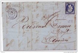 014. LAC N°14 BLEU-NOIR Variété POSTF-S - Cachet à Date De PUTEAUX - 1856 - 1849-1876: Classic Period