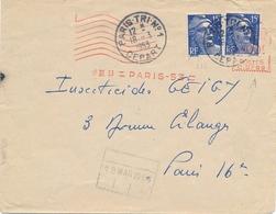 """GANDON N°776 15f Obl EMA C.0769 18/3/53 + CàD """" PARIS TRI N°1 DEPART 18/3/53 """" Sur Lettre Pour Paris 16 - Postmark Collection (Covers)"""