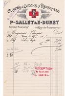 PARIS -75003- FACTURE Ouates & Cotons à Pansement P.Sallet & E.Duret 114, Rue De Turenne  - A7768 - France