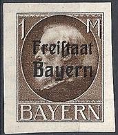 "Bayern, 1919 King Ludwig III, 1M Ovptd ""Freistaat Bayern"" # Michel 165B - Scott 225 - Yvert 165B MLH - Bayern (Baviera)"