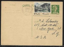 Entier Postal Carte Postale 12 F Marianne De Muller Avec Affr. Complémentaire 6 F Lourdes Pour Les USA - Secap Paris - 1955- Marianne Van Muller