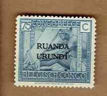 RUANDA-URUNDI.  (COB-OBP) 1925 - N°69 . *TIMBRES DU CONGO BELGE SURCHARGES RUANDA-URUNDI *  75c - Neuf - Ruanda-Urundi