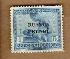 RUANDA-URUNDI.  (COB-OBP) 1925 - N°71 . *TIMBRES DU CONGO BELGE SURCHARGES RUANDA-URUNDI *  1F - Neuf - Ruanda-Urundi