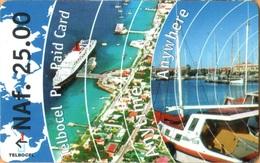 Antilles (Neth) - AN-BON-TBC-0002, Boats & Ocean View,  GSM Refill, 25 NAƒ, Exp.Day 1/7/2001, Used - Antillen (Nederlands)