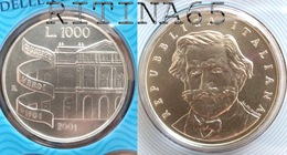 ITALIA 1000 LIRE ARGENTO 2001 GIUSEPPE VERDI FDC SIGILLATA DA SET ZECCA - 1 000 Lire