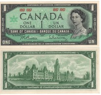 "CANADA  $ 1 Dollar    ""Centennial Of Candian Confederation /  Queen Elizabeth II""   P84a      1967  UNC - Canada"