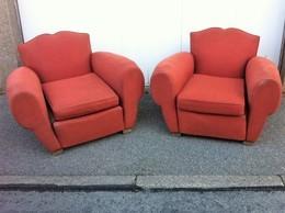 Paire De Club Tissu  ,année 30,à Rénover - Furniture