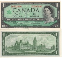 "CANADA  $ 1 Dollar    ""Centennial Of Candian Confederation /  Queen Elizabeth II""   P84b     1967  UNC - Canada"