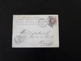 ENTIER POSTAL  -  CARTE POSTALE  1 PENNY  DE BRADFORD POUR PARIS  -  1881  - - Interi Postali