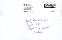 Auslands - Brief Von 45600 Talavera Mit 135 Cent Bar Freigemacht 2018 - 2011-... Lettres