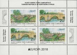 """CHIPRE TURCO/ TURKISH CYPRUS/ TÜRKISH-ZYPERN - EUROPA 2018 -""""PUENTES.-BRIDGES -BRÜCKEN -PONTS"""" - HOJITA BLOQUE - 2018"""