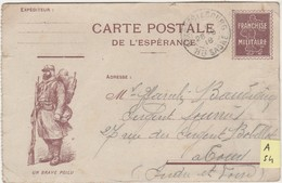 """A54 / Carte  Postale De L' Espérance / """"Un Brave Poilu""""/FM Franchise Militaire / 1918 / Pour Tours 37 - 1914-18"""