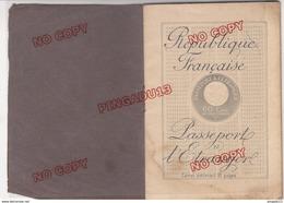 Fixe Passeport Passport France Marseille 1915 Ventimiglia Timbre Fiscal Tampon Sec Visas 1 ère Guerre Mondiale - Fiscali