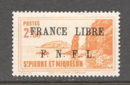 Langlade 2,50fr  Surchargé  «FRANCE LIBRE / F.N.F.L.» Yv 270*  MH - St.Pierre Et Miquelon