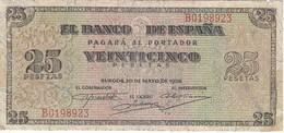 BILLETE DE BURGOS DE 25 PTAS DEL 20/05/1938 SERIE B  (BANKNOTE) - 25 Pesetas