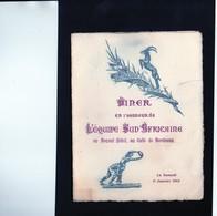 FRANCE-SPRINGBOKS-11 Janvier 1913 -Très Rare Menu D'après Match,contre La France Et Composition Des Equipes - Rugby