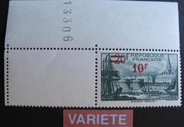 R1692/388 - 1940 - PORT DE SAINT MALO - N°492 CdF NEUF** ➤➤➤ PAPIER EPAIS + SURCHARGE DEPLACEE - France