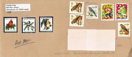 Oiseaux Birds Bel Affranchissement Composé (timbres + Vignettes) Sur Lettre De Sacramento Vers La Belgique (5/1/2004) - Cartas
