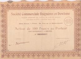 ACTIONS & TITRES - SOCIETE COMMERCIALE BAIGNERES ET DEWISME ACTION DE 100 FRANCS AU PORTEUR - Industrie