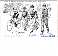 """CPA Marche Des Midinettes 1903 """"A L' Entrainement"""" Vélo Bicyclette Sport Cycling Radsport Illustrateur (2 Scans) - Künstlerkarten"""