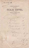 FRANCE - RESTAURANT DE LA TOUR EIFFEL 1926 - Alimentaire