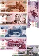 LOT SET SERIE 6 BILLETS COREE  / KOREA 5000 2000 1000 500 200 ( 2008 - 2013 ) WON SPECIMEN UNC NEUF - Corée Du Nord