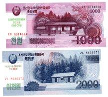 LOT SET SERIE 2 BILLETS COREE  /  KOREA 1000 & 2000 WON 2018 COMMEMORATIVE UNC NEUF - Corée Du Nord