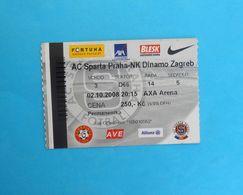 AC SPARTA PRAHA : NK DINAMO ZAGREB - 2008. UEFA CUP Football Match Ticket * Soccer Fussball Calcio Prague Czech Republic - Match Tickets
