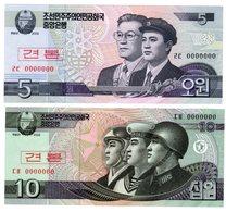 LOT SET SERIE 2 BILLETS COREE DU NORD / NORTH KOREA 5 & 10  WON 2002 SPECIMEN UNC NEUF - Corée Du Nord