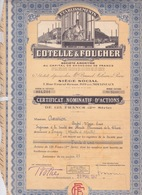 ACTIONS & TITRES - ETABLISSEMENTS COTELLE & FOUCHER - FAABRICANT PRODUIT CHIMIE - LESSIVE JAVEL LACROIX - Industrie
