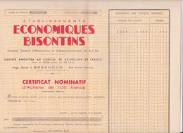 ACTIONS & TITRES - ETABLISSEMENTS ECONOMIQUES BISONTINS  - COMPTOIR D'ALIMENTATION APROVISIONNEMENT SUD EST - Industrie