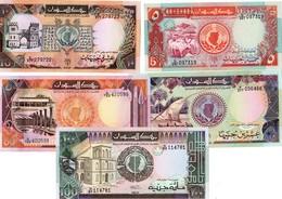 LOT SET SERIE 5 BILLETS SUDAN SOUDAN 5 - 10 - 20 - 50 - 100 POUNDS 1989 - 1991 UNC NEUF - Soudan