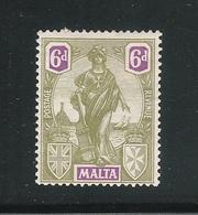 MALTA - 1922-25 - Valore Nuovo Con T.l. Da 65 P. Oliva E Violetto ALLEGORIE - In Buone Condizioni. - Malta