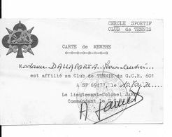 TENNIS..MILITARIA..DALLAPORTA...FORCES FRANCAISES EN ALLEMAGNE....FFA..CARTE DE MEMBRE A SP 69477...1971 - Sports & Tourism