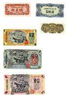 LOT SET SERIE 6 BILLETS COREE  / KOREA 15 20 50 1 5 10 WON 1947  UNC NEUF - Corée Du Nord