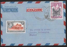 BRITISH SOLOMON ISLANDS Aerogramme 8d King C1950s Cancel To England! STK#X21264 - British Solomon Islands (...-1978)
