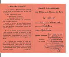 ....ARMEE DE TERRE......CARNET D HABILLEMENT DE L ARMEE DE TERRE.....1979.... - Documentos Históricos