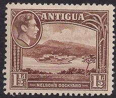 Antigua 1938 - 51 KGV1 1 1/2d Chocolate Brown Nelsons Dockyard MM SG 100 ( L1380 ) - Antigua & Barbuda (...-1981)