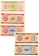 LOT SET SERIE 5 BILLETS CUBA CERTIFICATE DE DEVISE 5 /10 / 20 - 10 /20 PESOS EXCHANGE BON ETAT - Cuba
