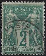1876 Sage N/B N°62 2c Vert Oblitéré Dateur De Paris, Tres Frais & TTB ! - 1876-1878 Sage (Type I)